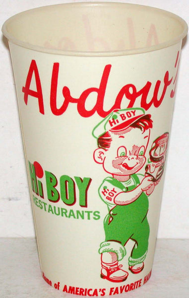 Vintage paper cup ABDOWS HI BOY RESTAURANT cartoon boy pictured unused n-mint+