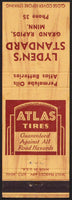Vintage matchbook cover ATLAS TIRES Lydens Standard oil Grand Rapids Minnesota