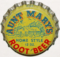 Vintage soda pop bottle cap AUNT MARYS ROOT BEER cork lined unused new old stock