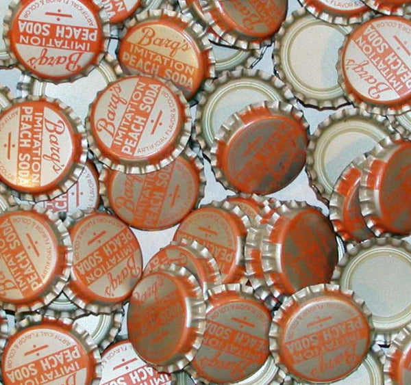 Soda pop bottle caps Lot of 25 BARQS PEACH SODA plastic unused new old stock