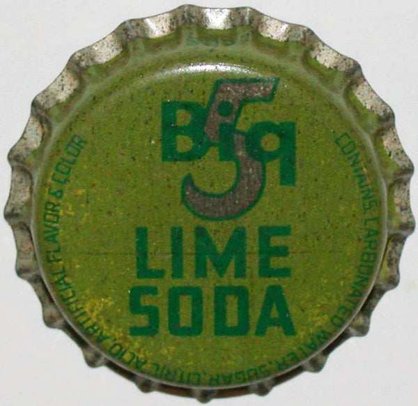 Vintage soda pop bottle cap BIG 5 LIME SODA cork lined Wahiawa Oahu TH Hawaii