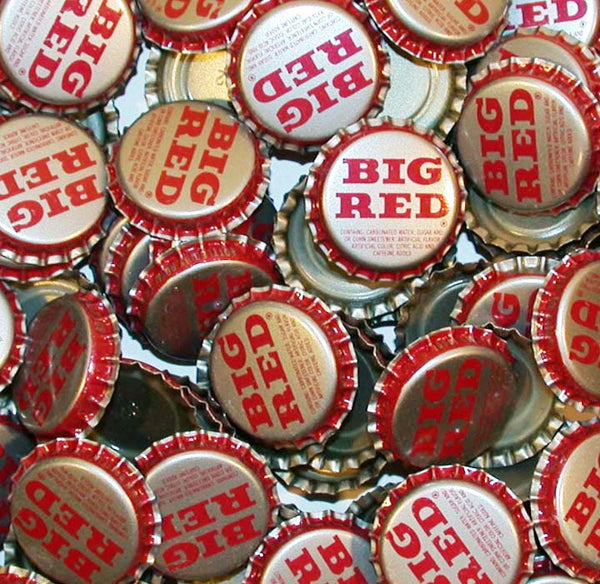 Soda pop bottle caps Lot of 25 BIG RED plastic lined unused new old stock
