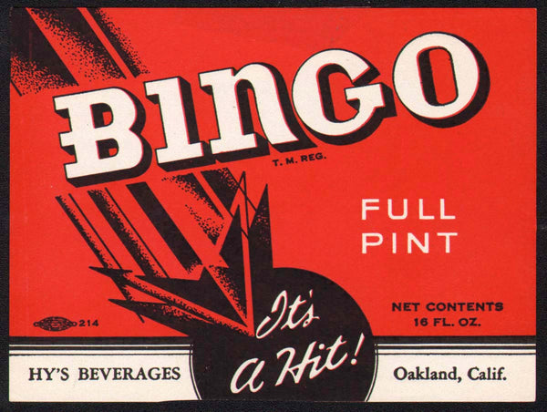 Vintage soda pop bottle label BINGO Hys Oakland California unused new old stock