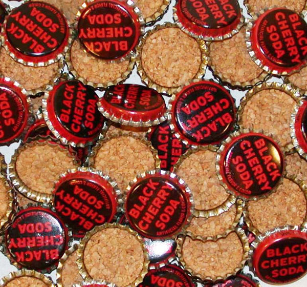 Soda pop bottle caps Lot of 25 BLACK CHERRY SODA cork lined unused new old stock