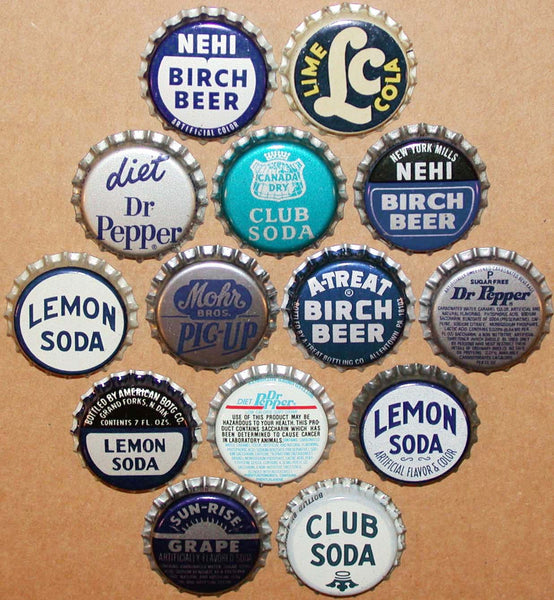 Vintage soda pop bottle caps BLUE COLORS Lot of 14 different new old stock