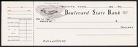 Vintage bank check BOULEVARD STATE BANK dated 1960s bank pictured Wichita Kansas