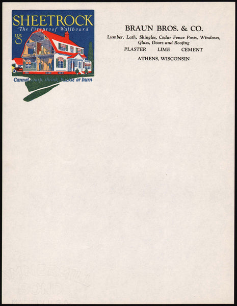 Vintage letterhead BRAUN BROS Lumber full color house Athens Wisconsin n-mint+