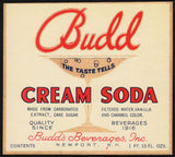 Vintage soda pop bottle label BUDD CREAM SODA Newport NH unused new old stock
