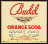 Vintage soda pop bottle label BUDD ORANGE SODA Newport NH unused new old stock