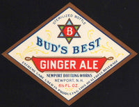 Vintage soda pop bottle label BUDS BEST GINGER ALE Newport NH unused n-mint+