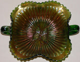 Vintage CARNIVAL GLASS Northwood Butterfly Stippled Rays 2 handled bowl green