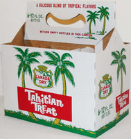 Vintage soda pop bottle carton CANADA DRY TAHITIAN TREAT palm trees unused n-mint