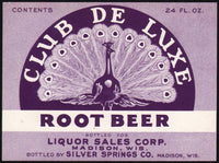 Vintage soda pop bottle label CLUB DE LUXE ROOT BEER Madison Wisconsin n-mint+
