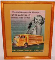 Vintage magazine ad COCA COLA 1938 International Trucks woman professionally matted and framed