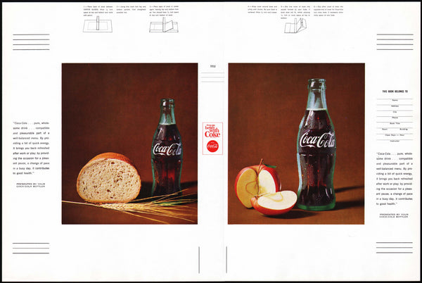 Vintage book cover COCA COLA picturing a bottle with bread and an apple n-mint+