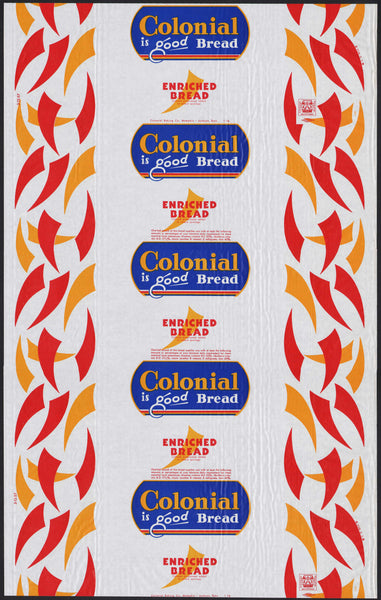 Vintage bread wrapper COLONIAL from 1957 Memphis Jackson Tennessee new old stock