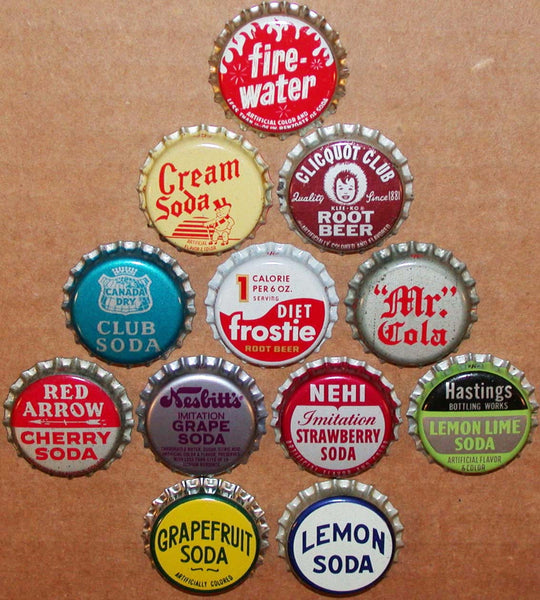 Vintage soda pop bottle caps 12 ALL DIFFERENT cork lined mix #27 new old stock