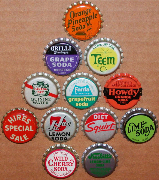 Vintage soda pop bottle caps 12 ALL DIFFERENT cork lined mix #30 new old stock