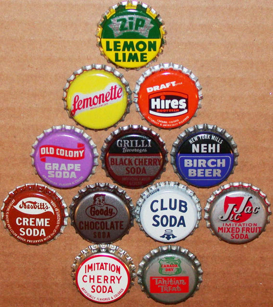 Vintage soda pop bottle caps 12 ALL DIFFERENT cork lined mix #31 new old stock
