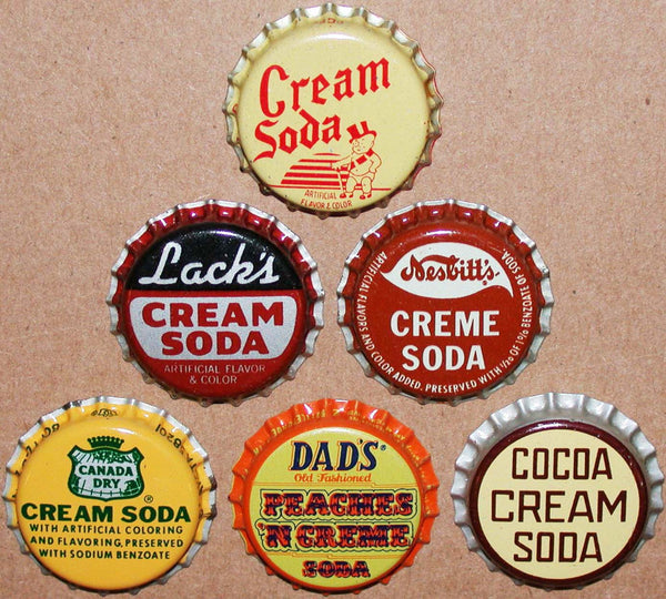 Vintage soda pop bottle caps CREAM FLAVORS Lot of 6 different new old stock