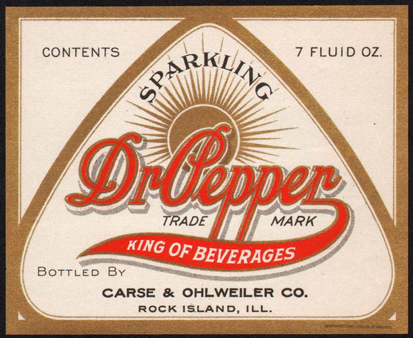 Vintage soda pop bottle label DR PEPPER King of Beverages slogan new old stock