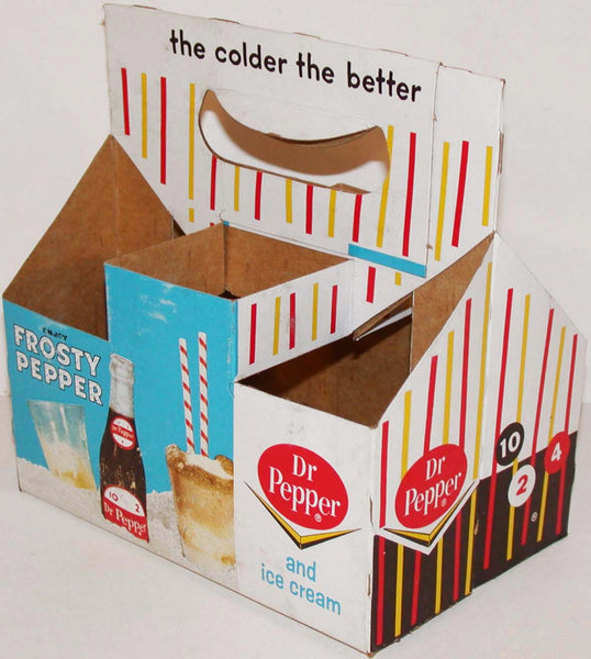 Vintage soda pop bottle carton DR PEPPER 6 pack candy stripe Frosty Pepper used