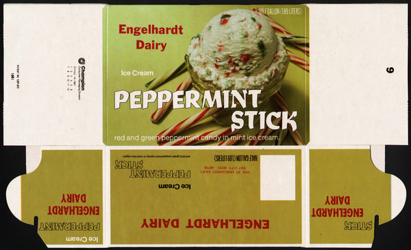 Vintage box ENGELHARDTS ICE CREAM Peppermint Stick Bay City Michigan n-mint condition