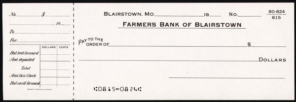 Vintage bank check FARMERS BANK OF BLAIRSTOWN #1 Missouri new old stock n-mint+