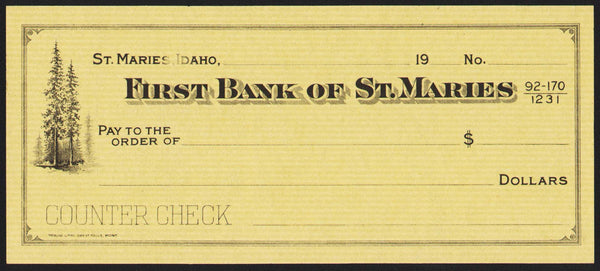 Vintage bank check FIRST BANK OF ST MARIES Idaho trees pictured unused n-mint
