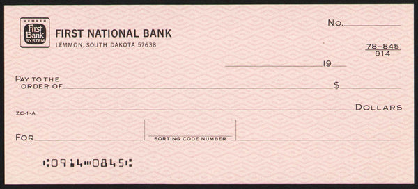 Vintage bank check FIRST NATIONAL BANK Lemmon South Dakota unused new old stock