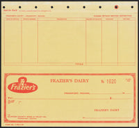 Vintage bank check FRAZIERS DAIRY woman pic triplicate Frankfort Indiana n-mint+
