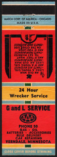 Vintage matchbook cover G AND L SERVICE AAA Verndale Minnesota unstruck n-mint