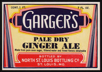 Vintage soda pop bottle label GARGERS GINGER ALE St Louis unused new old stock