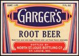 Vintage soda pop bottle label GARGERS ROOT BEER St Louis unused new old stock