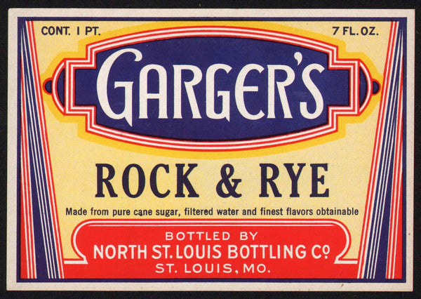 Vintage soda pop bottle label GARGERS ROCK and RYE St Louis unused new old stock