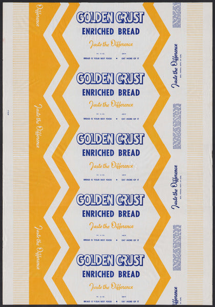 Vintage bread wrapper GOLDEN CRUST ENRICHED BREAD Reg Penna Agr new old stock
