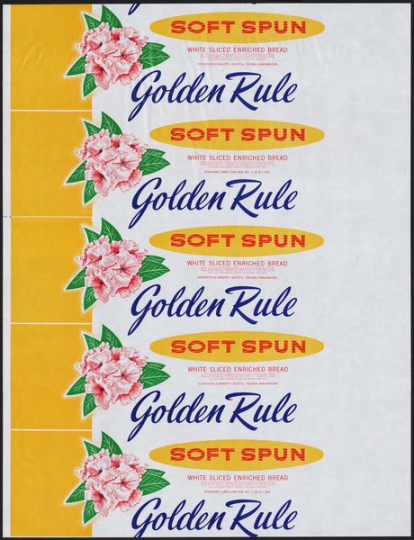 Vintage bread wrapper GOLDEN RULE SOFT SPUN Seattle Tacoma Washington unused