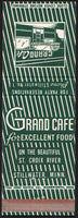 Vintage matchbook cover GRAND CAFE cafe entrance pictured Stillwater Minnesota n-mint