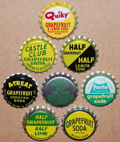 Vintage soda pop bottle caps GRAPEFRUIT FLAVORS Lot of 8 different new old stock