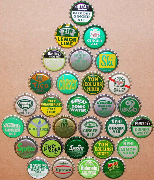 Vintage soda pop bottle caps GREEN COLORS Lot of 30 different new old stock