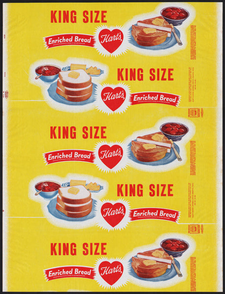 Vintage bread wrapper HARTS KING SIZE dated 1957 toast pictured Memphis Tenn