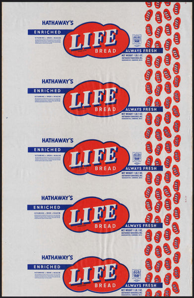Vintage bread wrapper HATHAWAYS LIFE BREAD Cambridge Mass 1948 new old stock