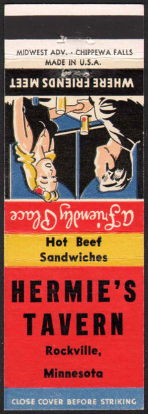 Vintage matchbook cover HERMIES TAVERN couple pictured Rockville Minnesota unstruck