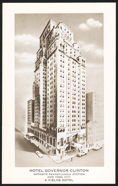Vintage postcard HOTEL GOVERNOR CLINTON New York City with hotel pictured unused