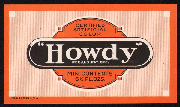 Vintage soda pop bottle label HOWDY 6 1/2oz size unused new old stock n-mint+