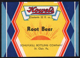 Vintage soda pop bottle label HOWELS ROOT BEER St Clair PA unused new old stock