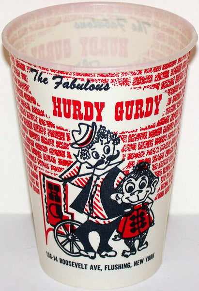 Vintage paper cup THE FABULOUS HURDY GURDY Flushing New York unused n-mint+ condition
