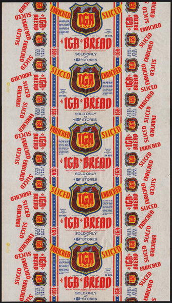 Vintage bread wrapper IGA BRAND Fassetts Burlington Vermont 1942 new old stock