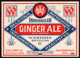 Vintage soda pop bottle label INNISFALLEN GINGER ALE San Francisco California