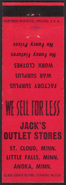 Vintage matchbook cover JACKS OUTLET STORES St Cloud Little Falls Anoka Minnesota